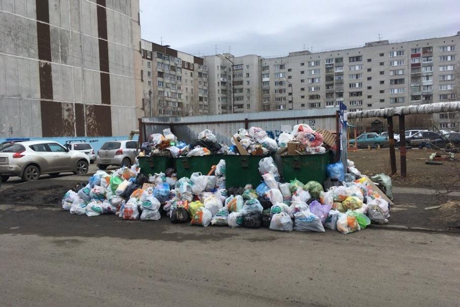 Жители дома на улице Зелёной в Кургане не могут подступиться к помойке из-за кучи мусора