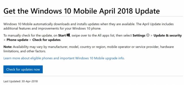Windows 10 Mobile также получит обновление April 2018 Update