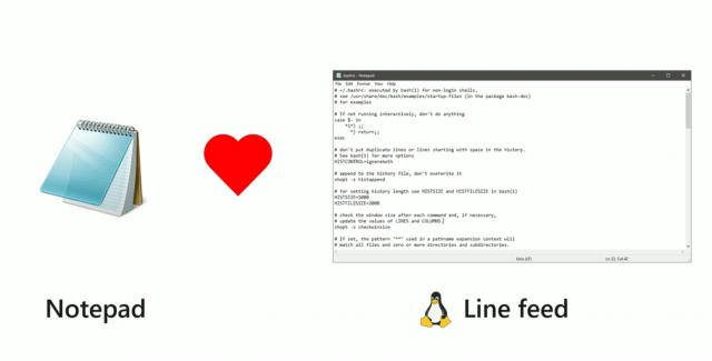 Блокнот обзаведется поддержкой Linux Line Feed