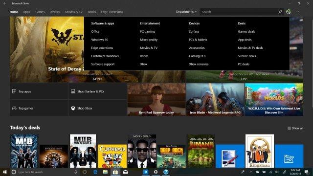 Новое меню «Departments» в Microsoft Store