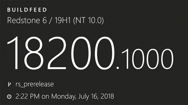 Windows 10 Build 18200 – первая сборка Redstone 6 / 19H1