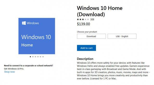 Microsoft повысила стоимость редакции Windows 10 Home на 40%