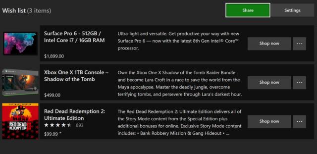 Скоро в Microsoft Store появятся Корзина и Список желаний