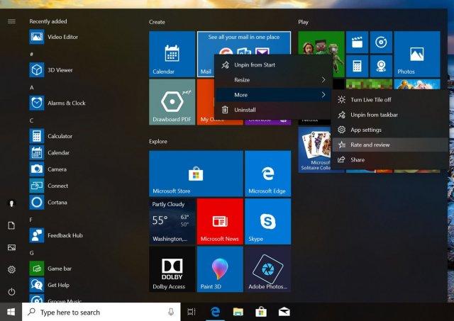 Windows 10: Акрил в выпадающем списке