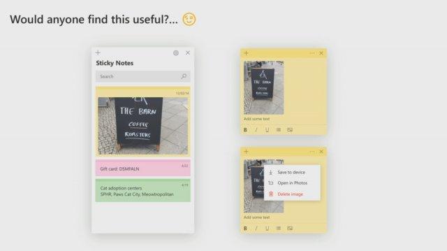 Sticky Notes вскоре получит поддержку картинок